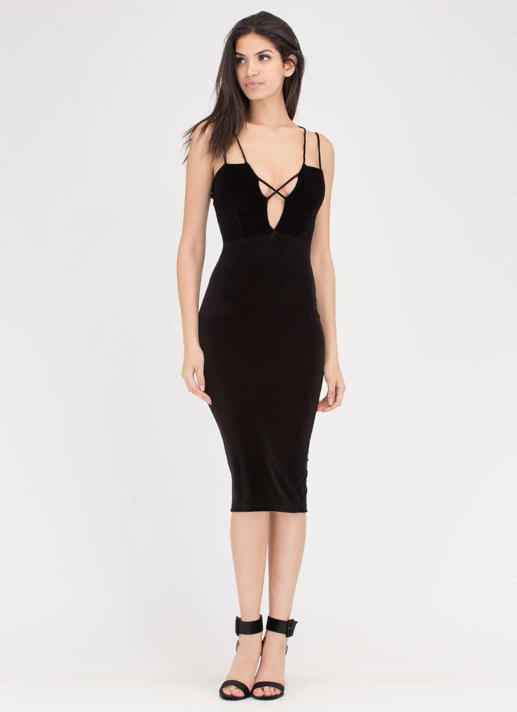 X Sells Strappy Plunging Velvet Dress BLACK