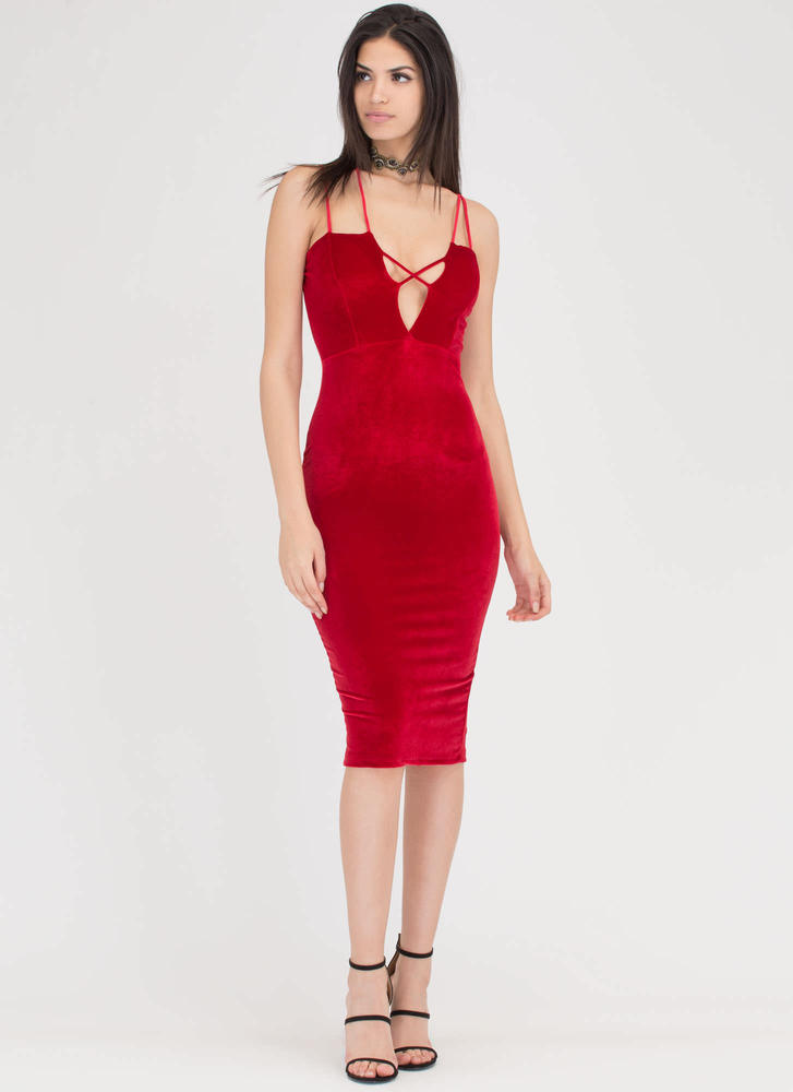 X Sells Strappy Plunging Velvet Dress RED
