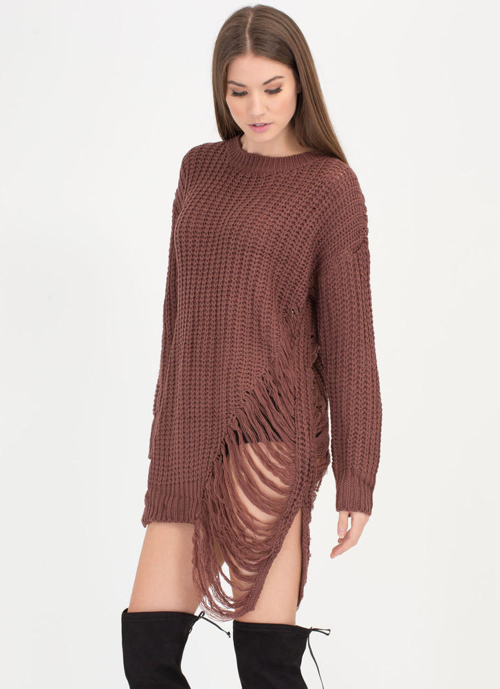 Pull Some Strings Knit Sweater Dress MARSALA