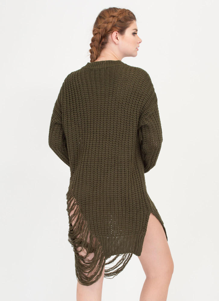 Pull Some Strings Knit Sweater Dress OLIVE