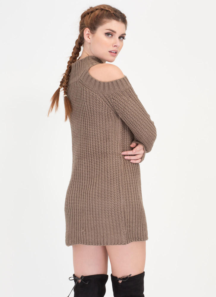 Hot Hustle Cold Shoulder Sweater CAPPUCCINO