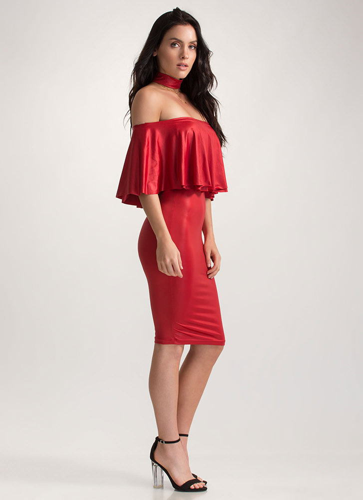 Choker Hold Ruffled Off-Shoulder Dress RED