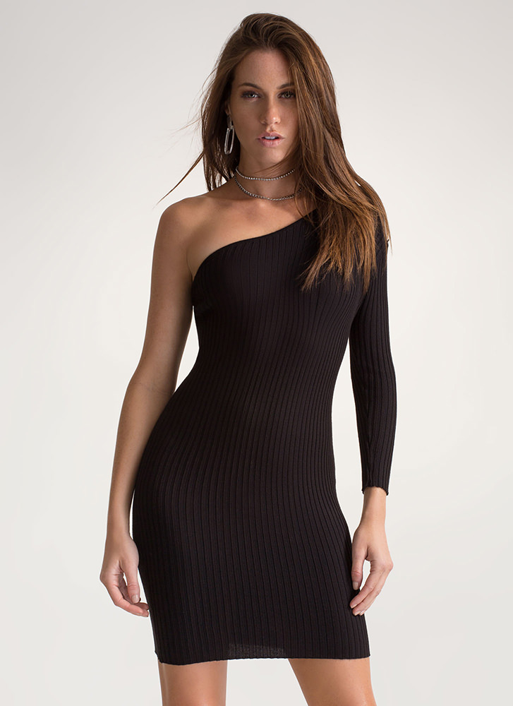 One-Up Asymmetrical Sweater Dress BLACK