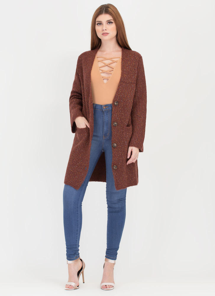 Specks Appeal Long Knit Cardigan