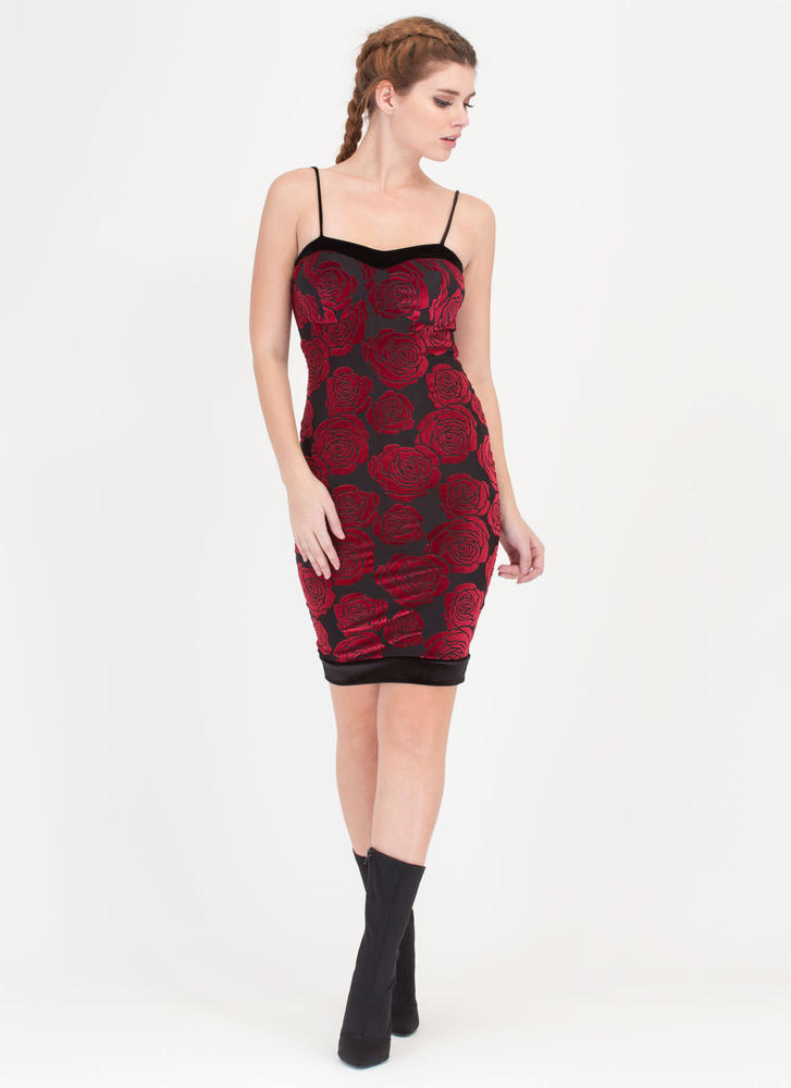 Rose By Any Name Velvet Midi Dress RED