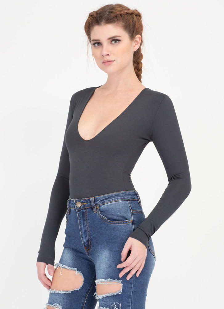 Taking The Plunge Deep-V Bodysuit BLACK