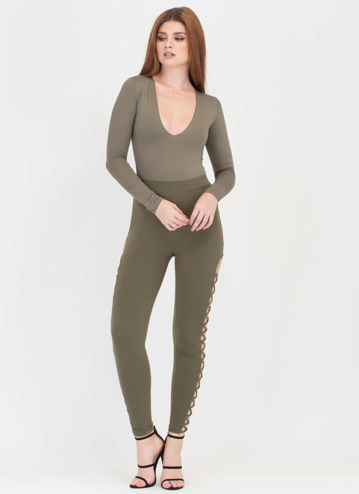 Taking The Plunge Deep-V Bodysuit OLIVE