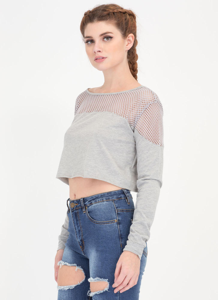 Netted Gains Sports Mesh Crop Top HGREY