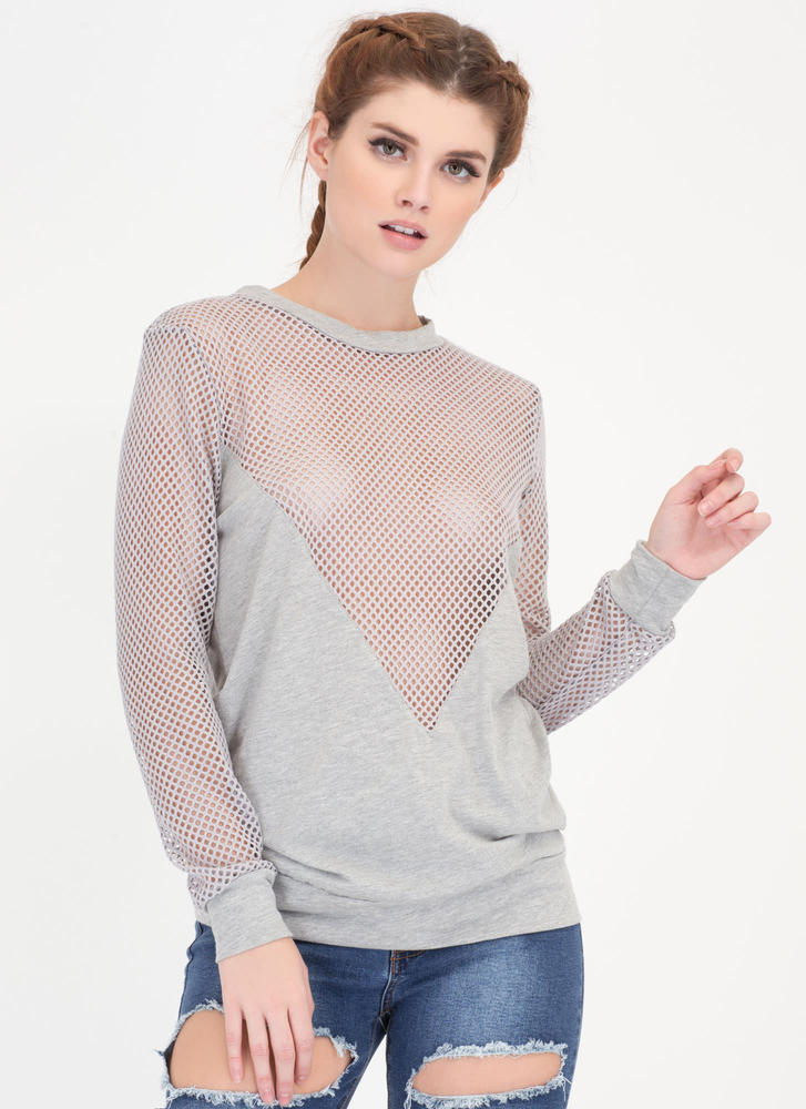 Net Work Plunging Sports Mesh Top