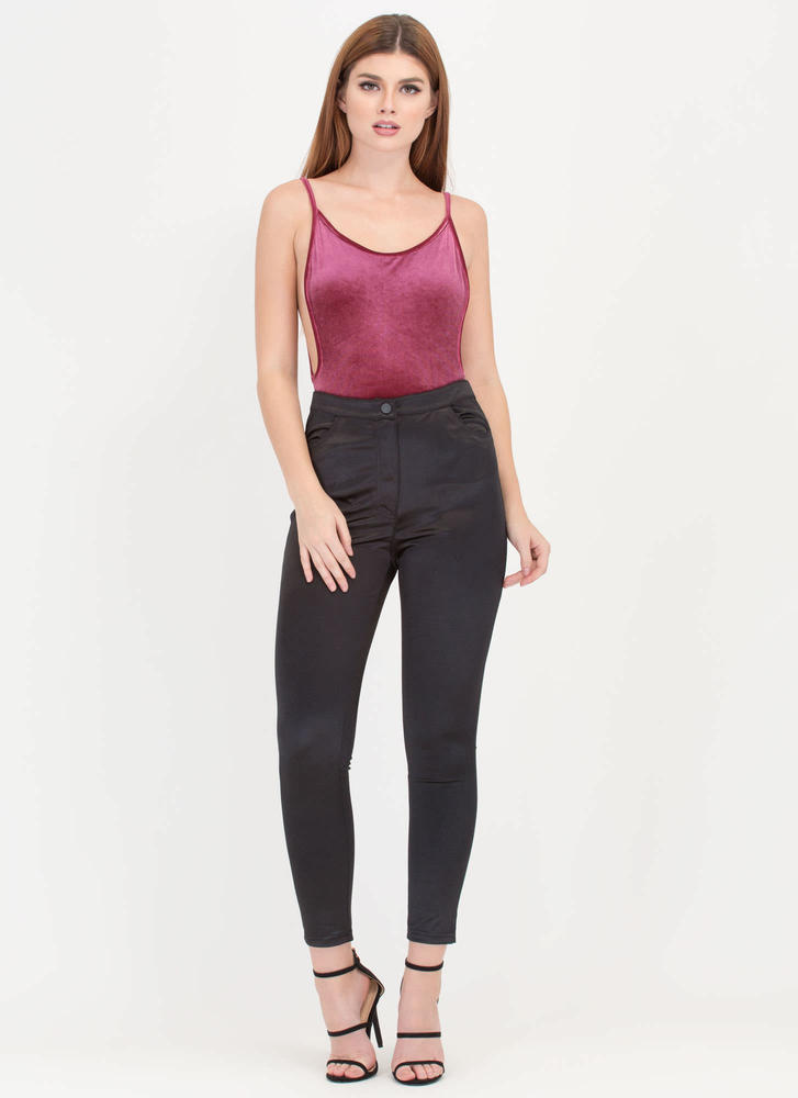 Stealing The Sheen Satiny Trousers BLACK
