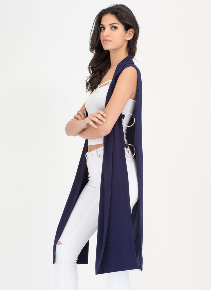 Ring Leader Sleeveless Blazer Duster NAVY