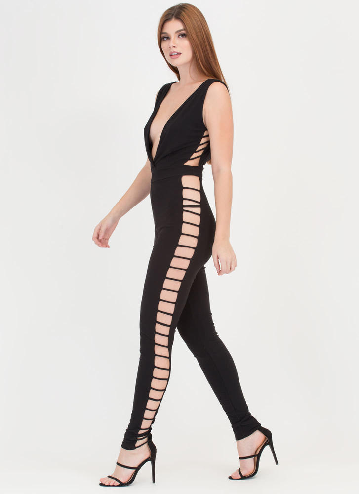 Chic No Further Strappy Caged Jumpsuit BLACK