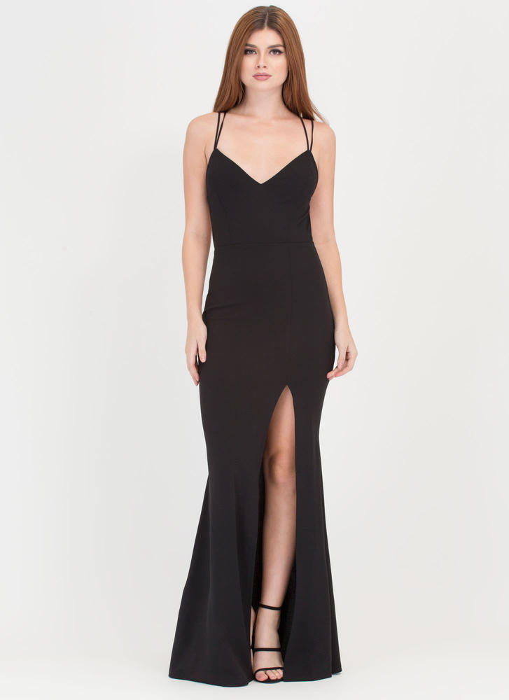 Seeing Stars Caged Slit Maxi Dress BLACK