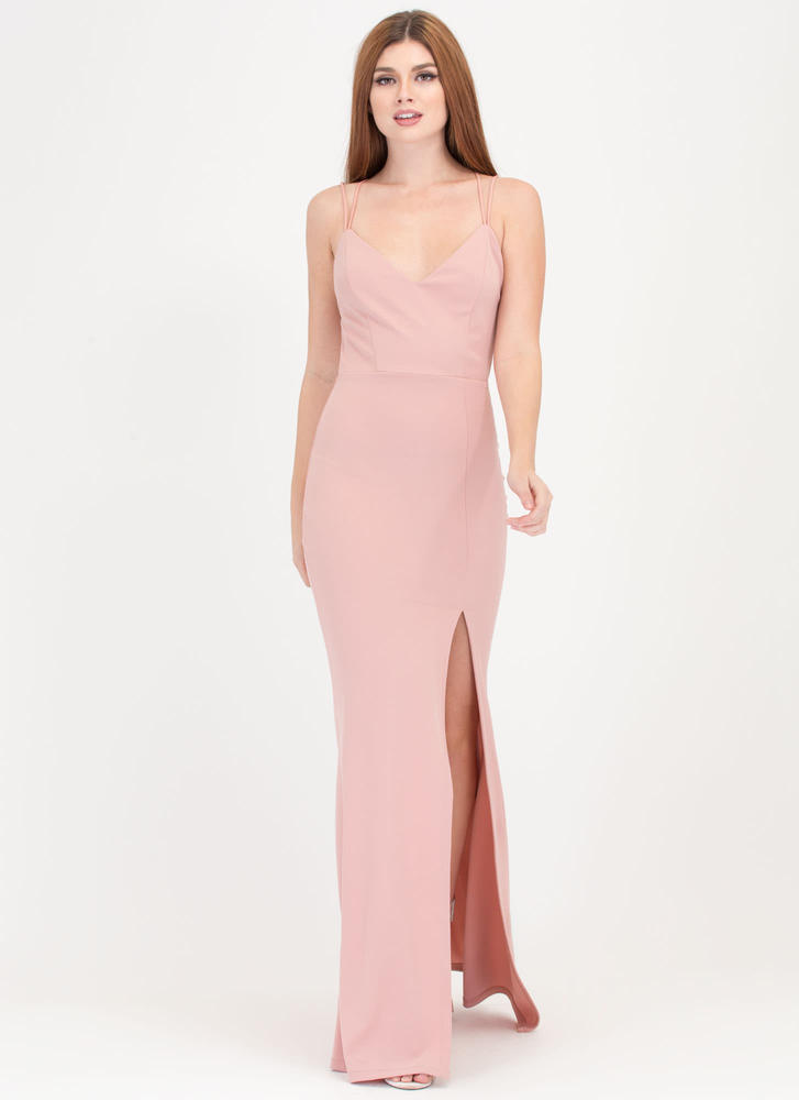 Seeing Stars Caged Slit Maxi Dress MAUVE (Final Sale)