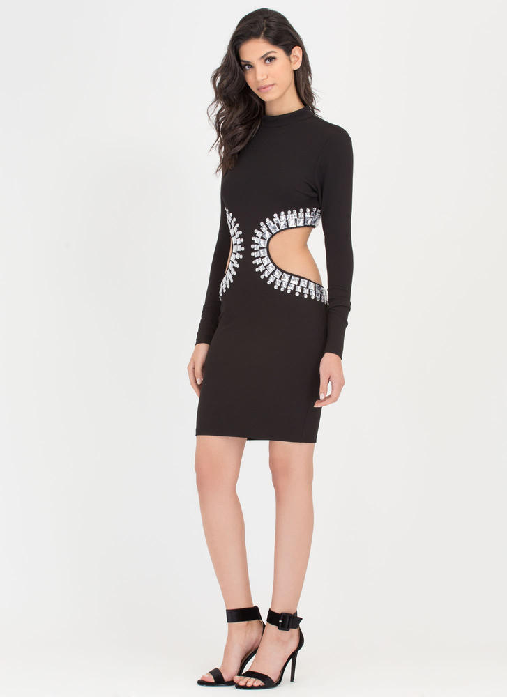 Crystal Clear Cut-Out Midi Dress  BLACK