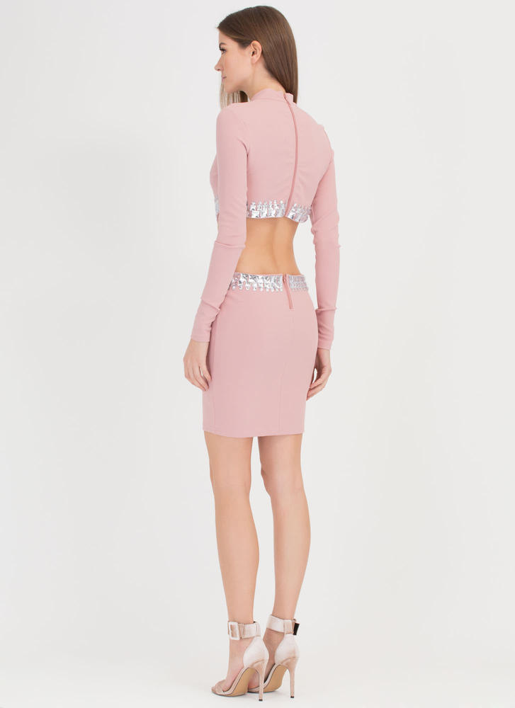 Crystal Clear Cut-Out Midi Dress  MAUVE