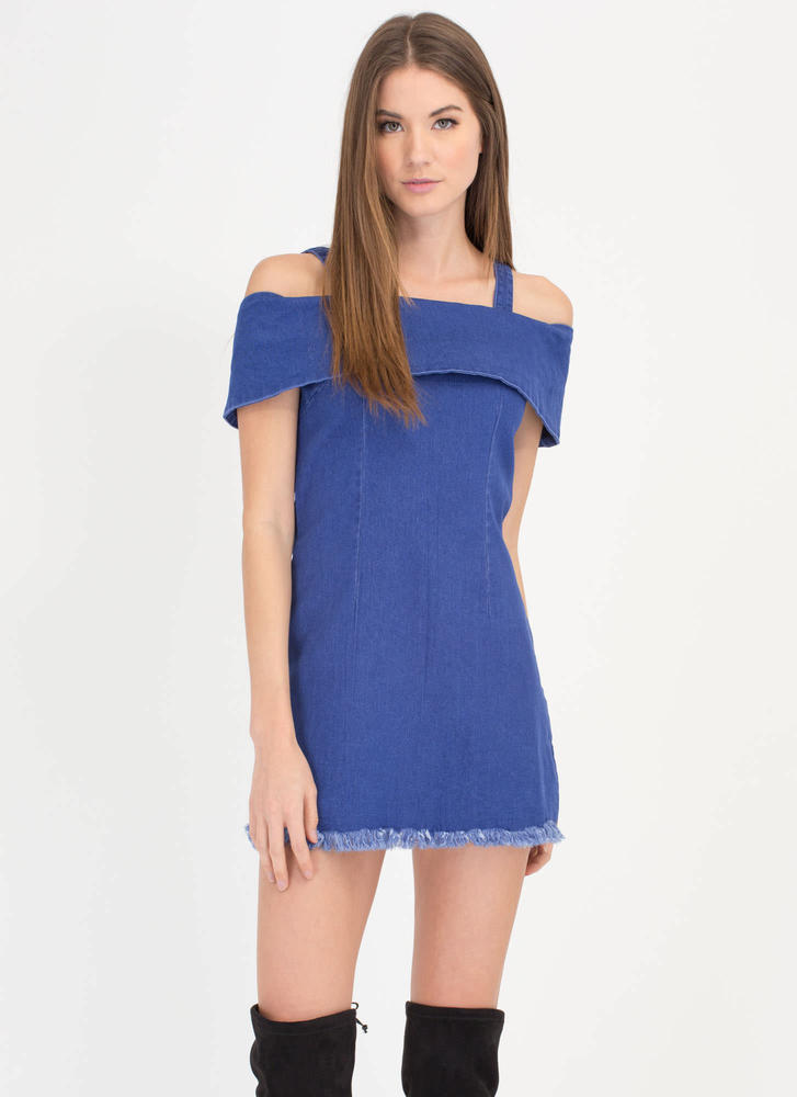 Dreaming In Denim Cold-Shoulder Dress DKBLUE