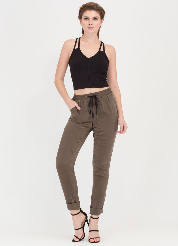 Silky Way Cuffed Drawstring Pants