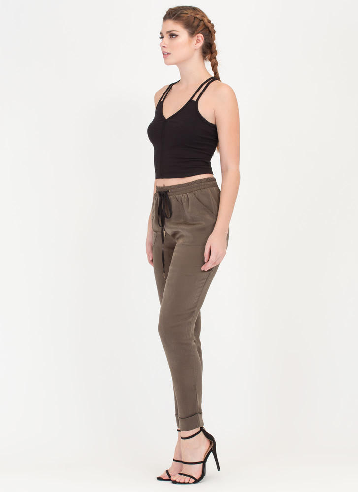 Silky Way Cuffed Drawstring Pants OLIVE
