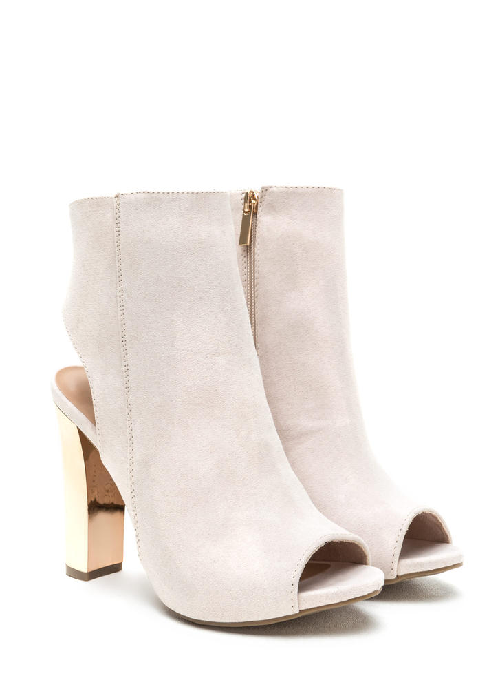 Shine Away Metallic Peep-Toe Booties IVORY