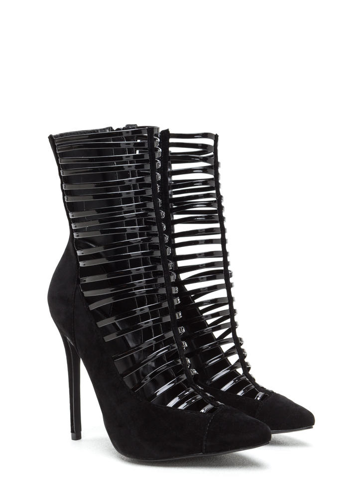Ladder Up Pointy Extra Tall Booties BLACK