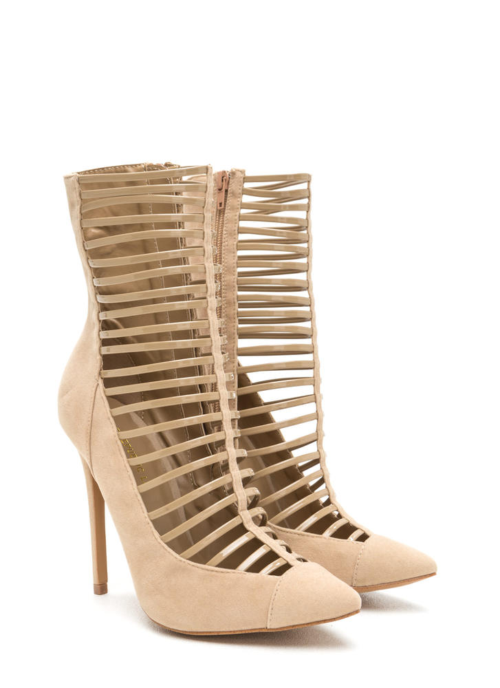Ladder Up Pointy Extra Tall Booties TAUPE