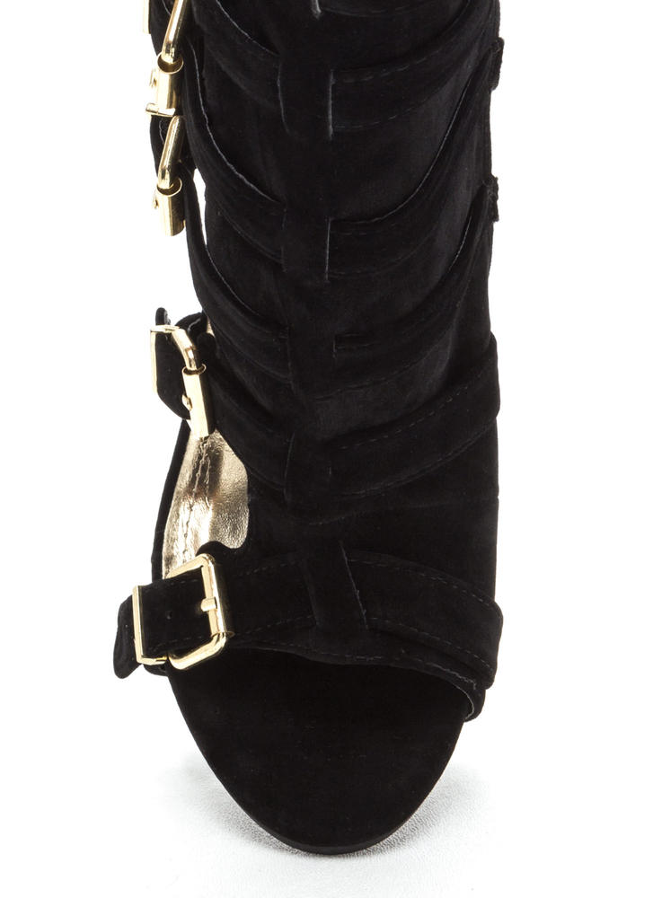 Oh Strappy Day Buckled Caged Heels BLACK
