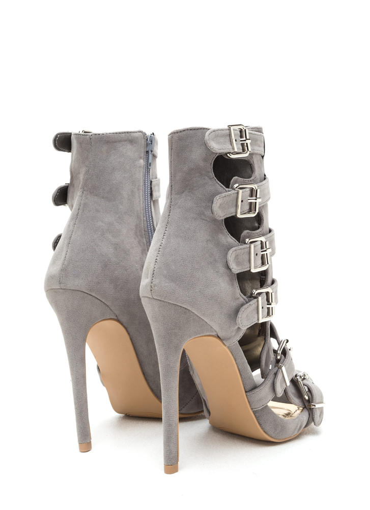 Oh Strappy Day Buckled Caged Heels GREY
