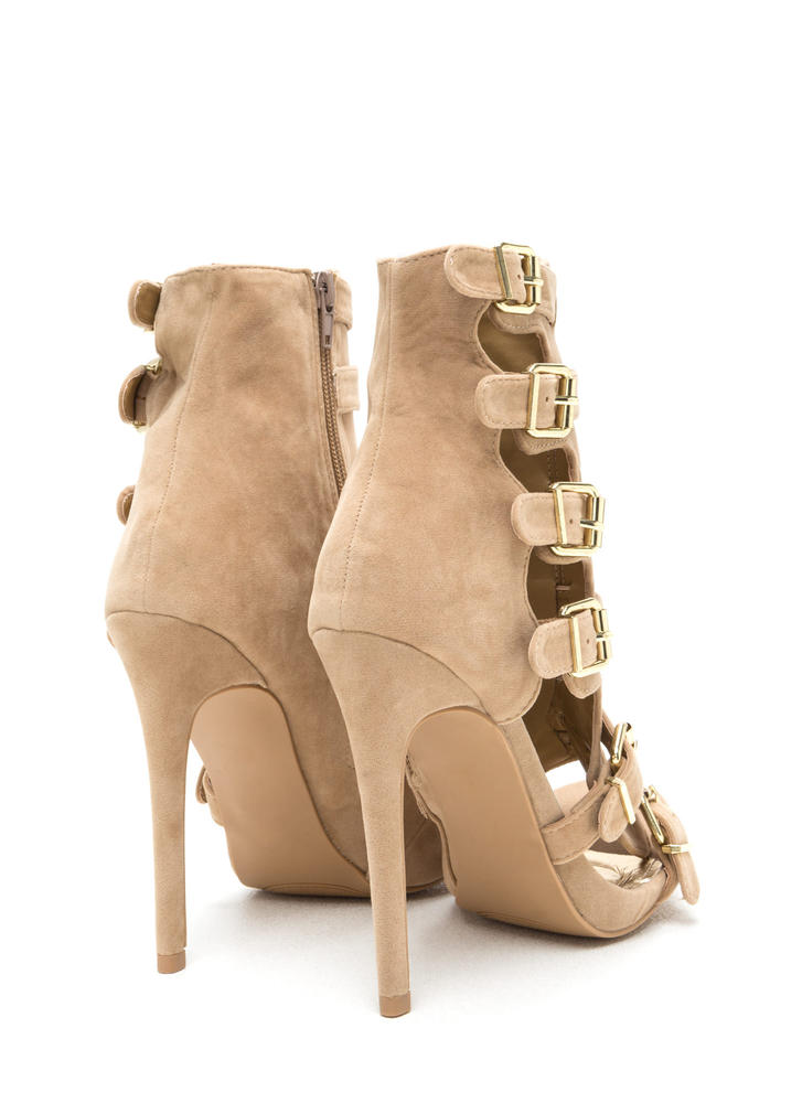 Oh Strappy Day Buckled Caged Heels NUDE