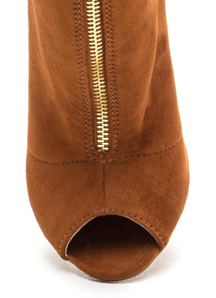 Drawstring Me Along Chunky Booties CHESTNUT (Final Sale)