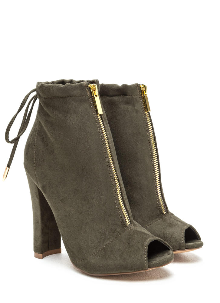 Drawstring Me Along Chunky Booties OLIVE (Final Sale)