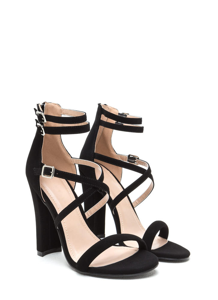Day 'N Cage Strappy Chunky Heels BLACK