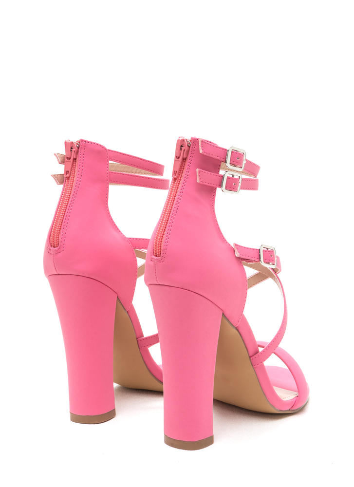 Day 'N Cage Strappy Chunky Heels CORAL