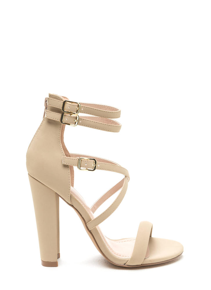 Day 'N Cage Strappy Chunky Heels CORAL BLACK NUDE - GoJane.com