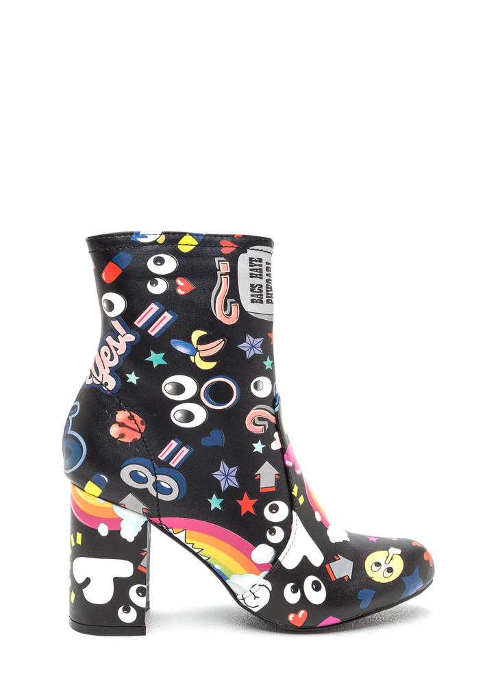 Cartoon Lover Chunky Print Booties