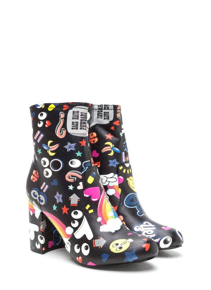 Cartoon Lover Chunky Print Booties BLACK