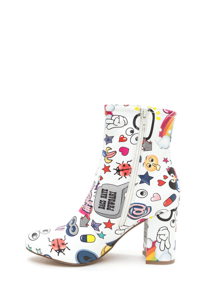 Cartoon Lover Chunky Print Booties WHITE