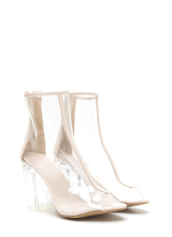 Clear Goal Chunky Peep-Toe Booties CLEARNUDE