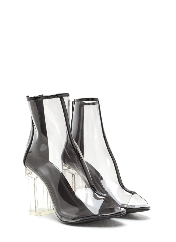 Clear Goal Chunky Peep-Toe Booties SMOKESMOKE