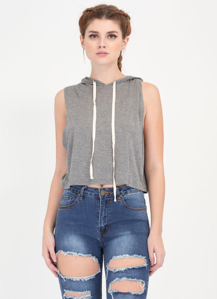 All Good In The Hoodie Crop Top HGREY