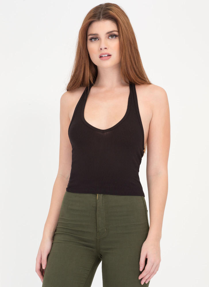 Hey Shorty Ribbed Halter Crop Top