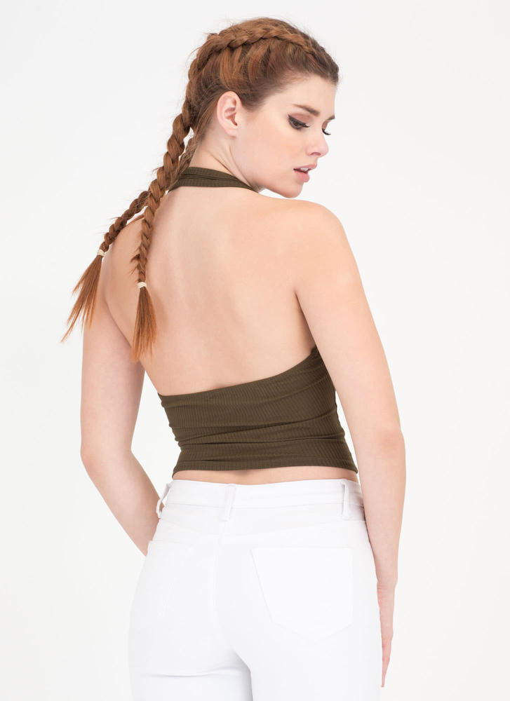 Hey Shorty Ribbed Halter Crop Top OLIVE