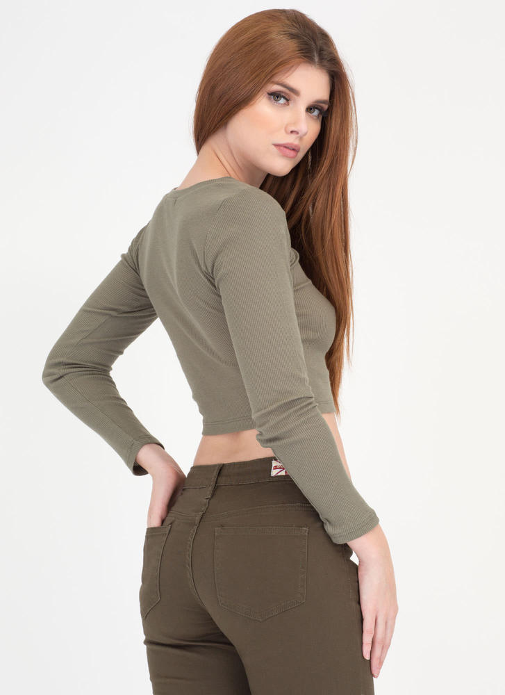 Everyday Thing Rib Knit Crop Top OLIVE