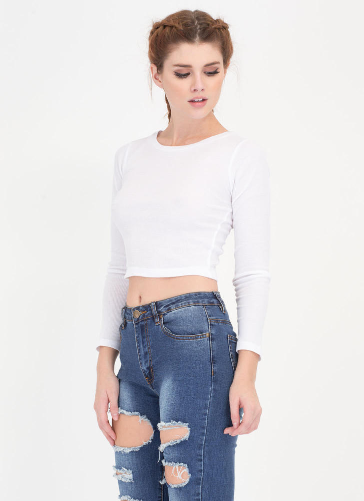 Everyday Thing Rib Knit Crop Top WHITE