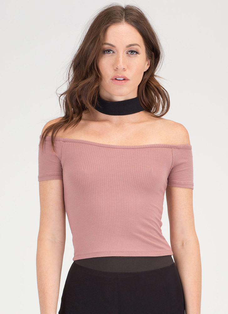 Dibs Ribbed Off-Shoulder Crop Top MAUVE