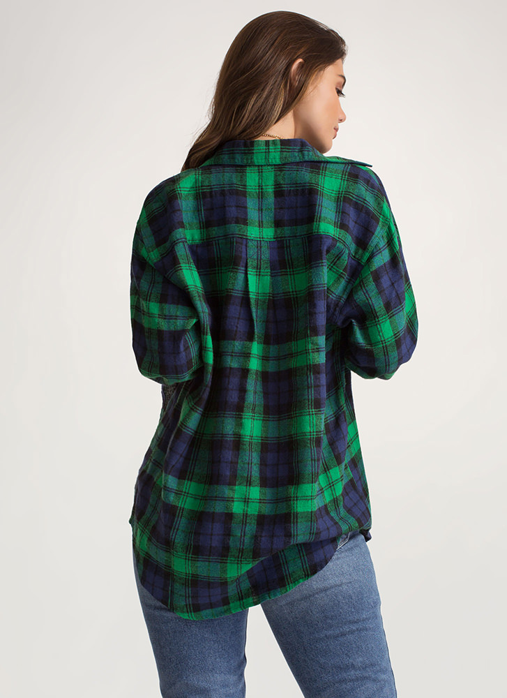 Plaid To The Bone Flannel Button-Up GREEN