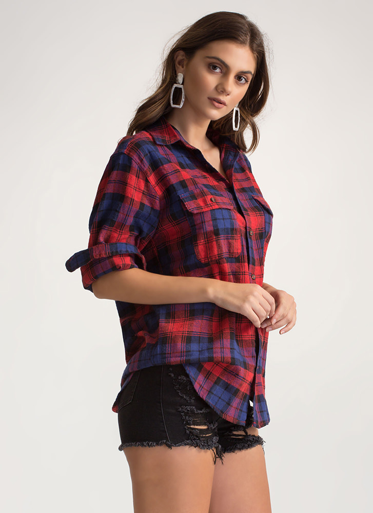 Plaid To The Bone Flannel Button-Up RED