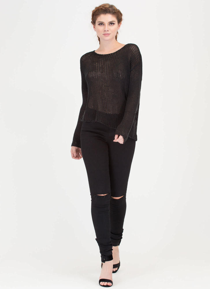 On A Diagonal Hem Knit Sweater BLACK