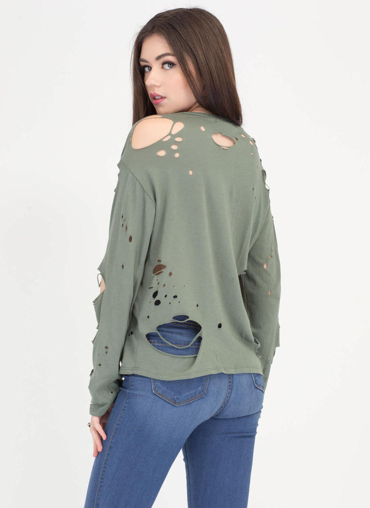 Hole Package Distressed Top OLIVE