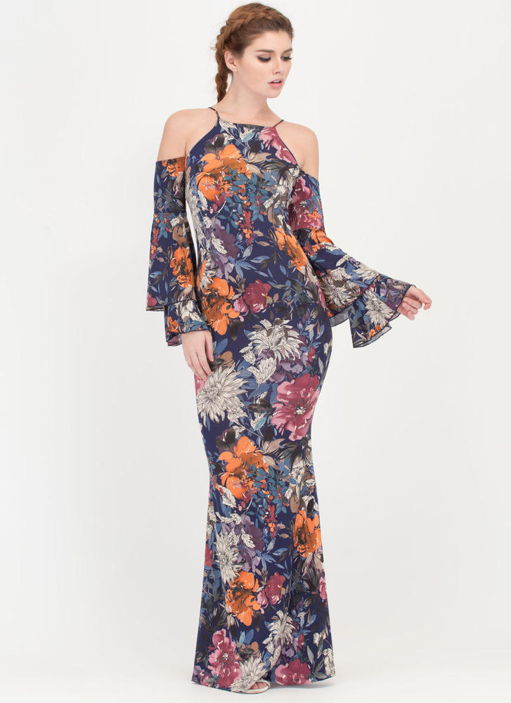 Garden Path Cold Shoulder Maxi Dress